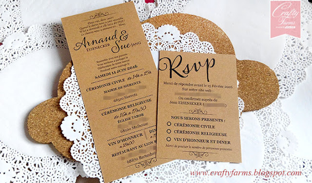 Rustic French Wedding Invitation Card with RSVP Card