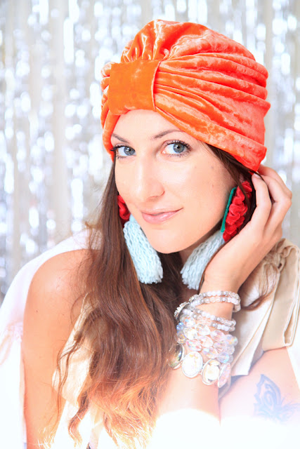 Orange Crushed Velvet Turban by Mademoiselle Mermaid