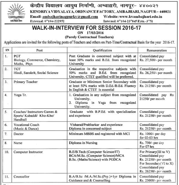 Kendriya Vidalaya O.F.Nagpur Recruitment 2016 kvambajhari.edu.in