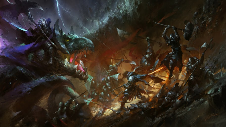 Dragon, Epic, Fantasy, Warriors, Army, Battle, 4K, #4.1038