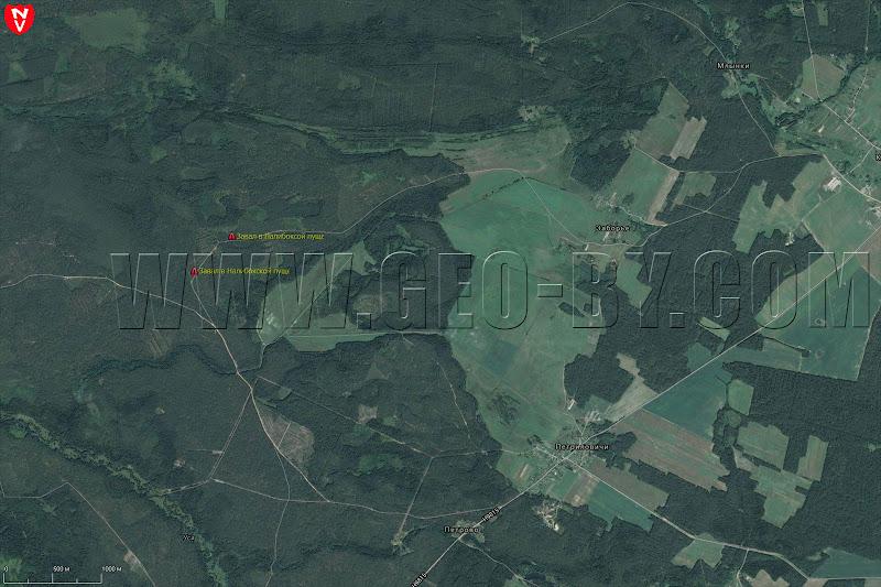 Карта двух завалов на лесной дороге в Налибокской пуще