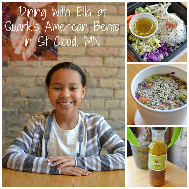 Dining with Ella at Quark's American Bento in St Cloud, Minnesota! Great meals for kids and adults, fresh, healthy, gluten free, affordable and delicious!