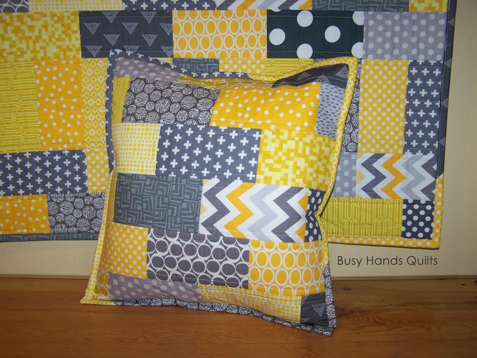 Busy Hands Quilts Custom Yellow And Gray Brick Baby Quilt
