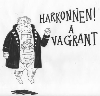 Cartoon in the style of Kate Beaton's Hark! A Vagrant with Baron von Harkonnen instead, floating on suspensors