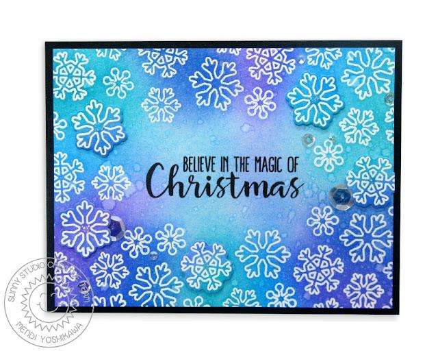 Sunny Studio stamps: Mug Hugs Snowflake Christmas Card by Mendi Yoshikawa
