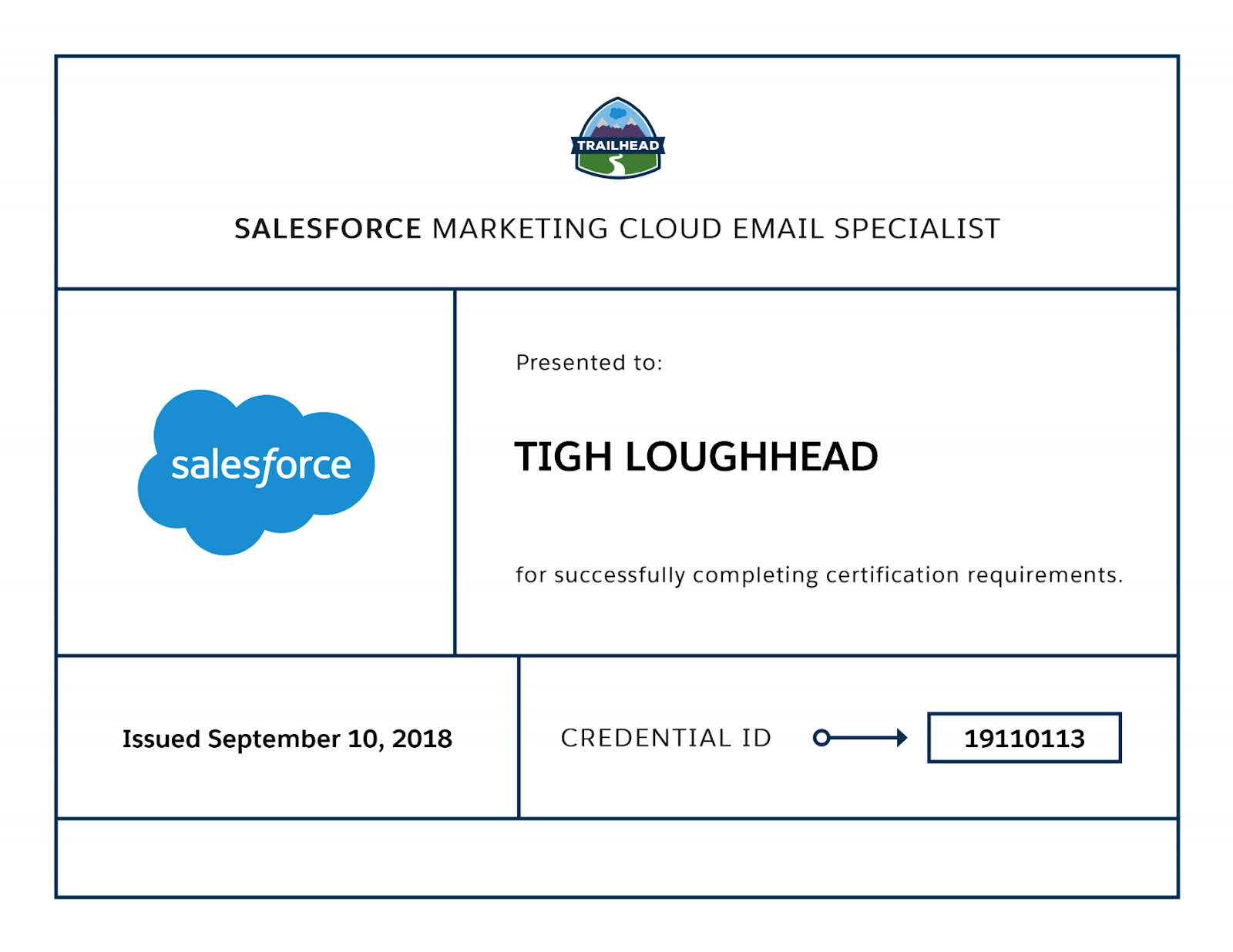 Tigh Loughhead is a Certified Salesforce Marketing Cloud Email Specialist