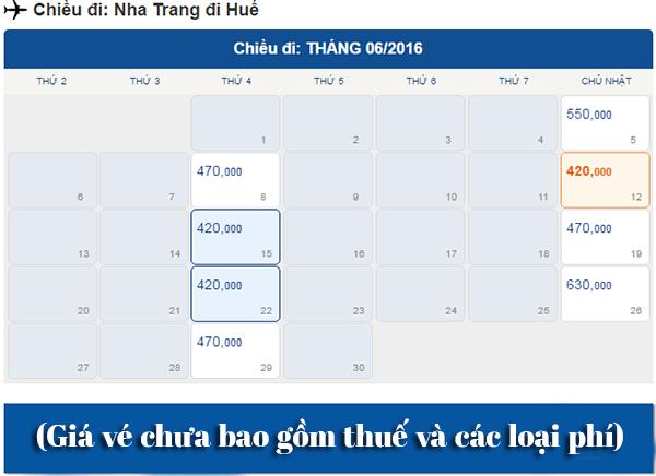 Vé máy bay Nha Trang đi Huế giá rẻ