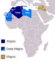 Harita üzerinde mağrip ve maşrık ülkelerinin gösterimi