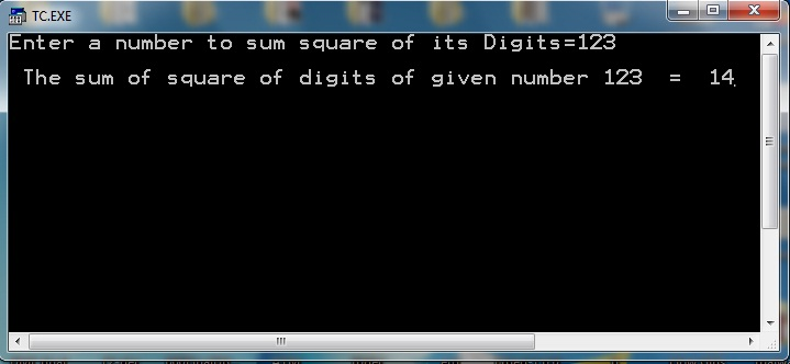 C++ Program to Calculate sum of squares of digits of given number output of execution