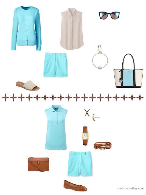 2 ways to wear aqua shorts