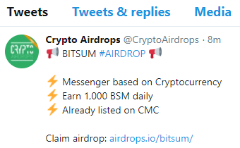 cryptocurrency airdrop tweet