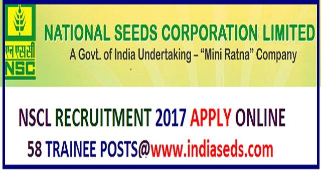 NSCL Recruitmnt 2017, NSCL Trainee posts,www.indiaseeds.com apply online