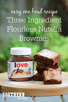Easy Three Ingredient Flourless Nutella Brownies Recipe – 3 ingredients, flourless, no flour, gluten free, one bowl, simple, quick, dairy free, chewy edges, fudgy, gooey, fast dessert recipes
