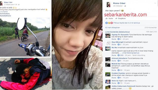 """Ini status terakhir drag biker wanita """"Riska Cibel """" yang meninggal di Tulungagung."""