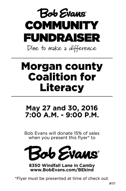 Morgan County Coalition for Literacy Bob Evans Fundraiser 05272016