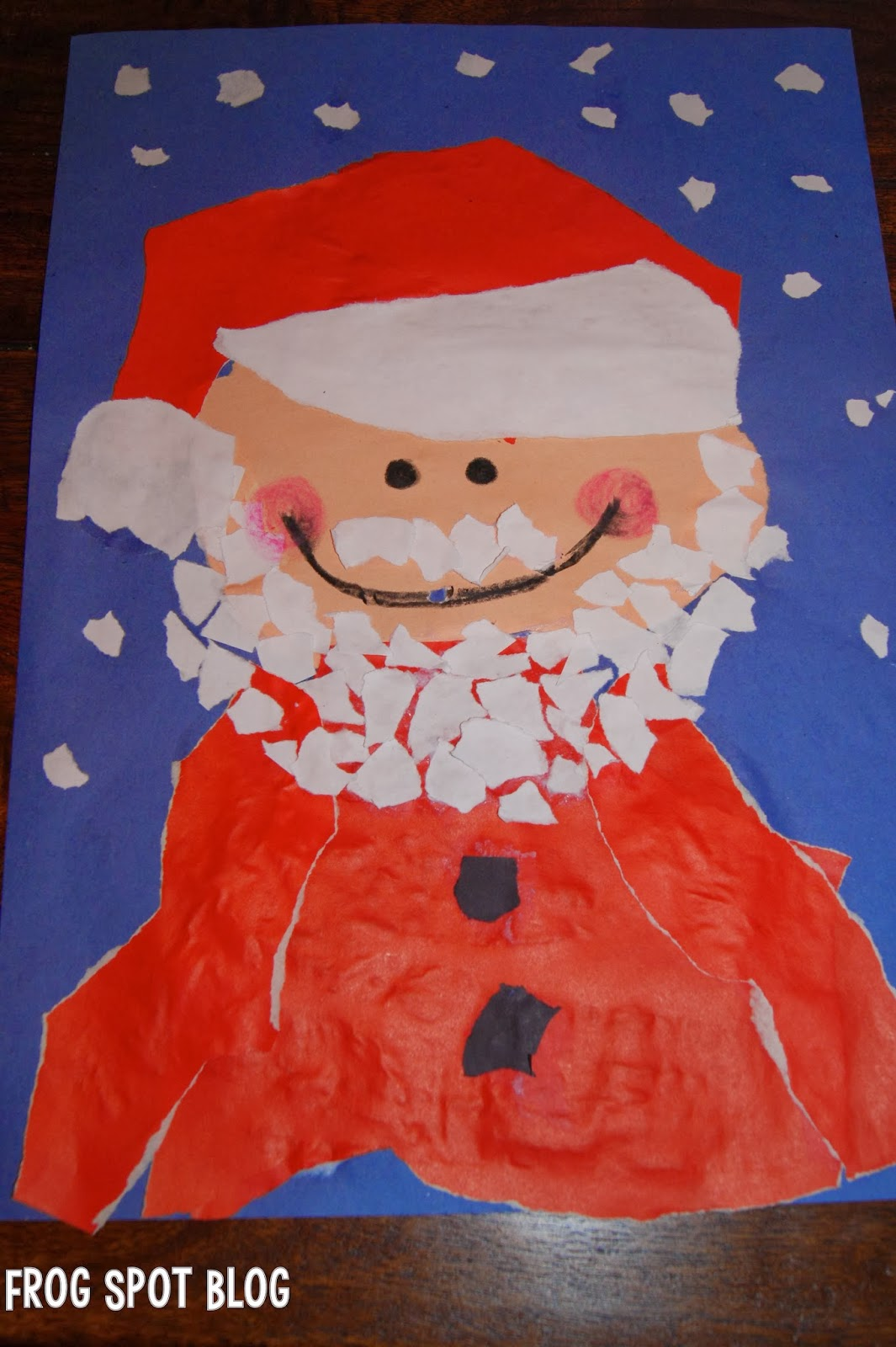 Torn paper santa zero prep art for kids from the pond for Children arts and craft