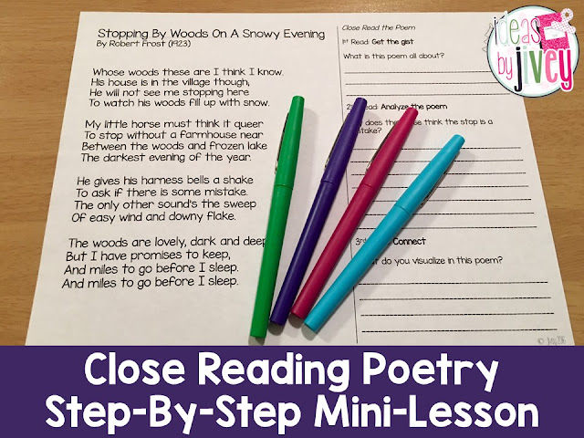 Use Poetry to Teach Close Reading Strategies with Ideas By Jivey
