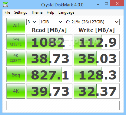 Crystal Disk Mark speed test
