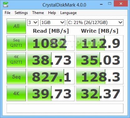 Crystal Disk Mark speed test