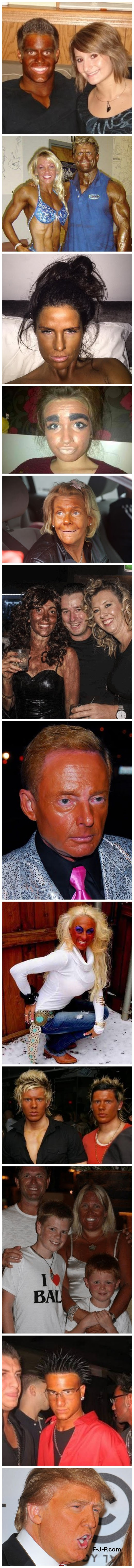 Collection of terrible tan pictures, including Donald Trump, the orange wonder