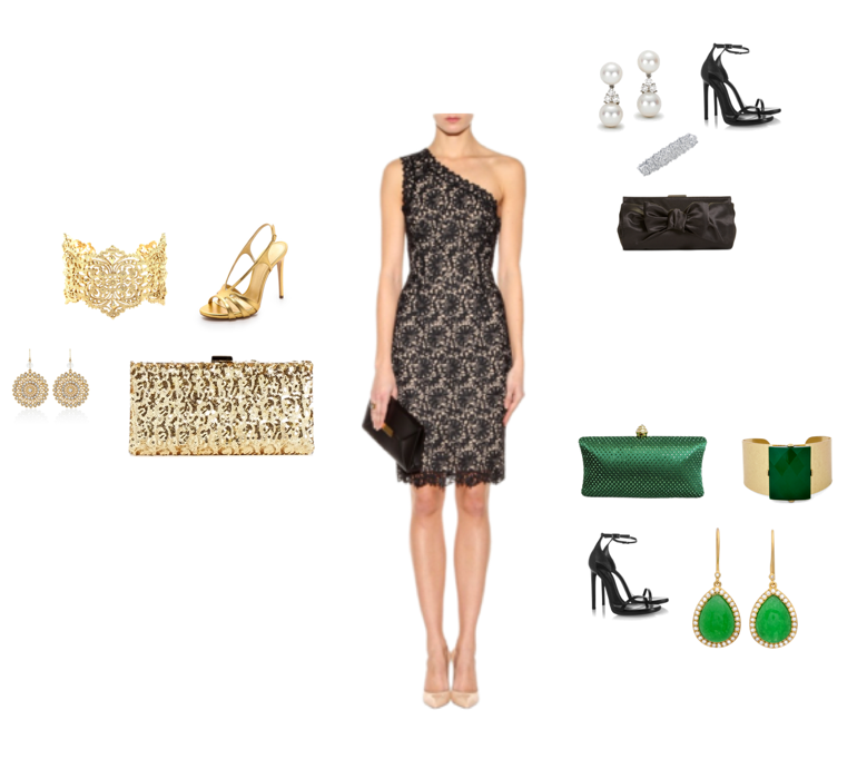 Accessorize long black evening dress