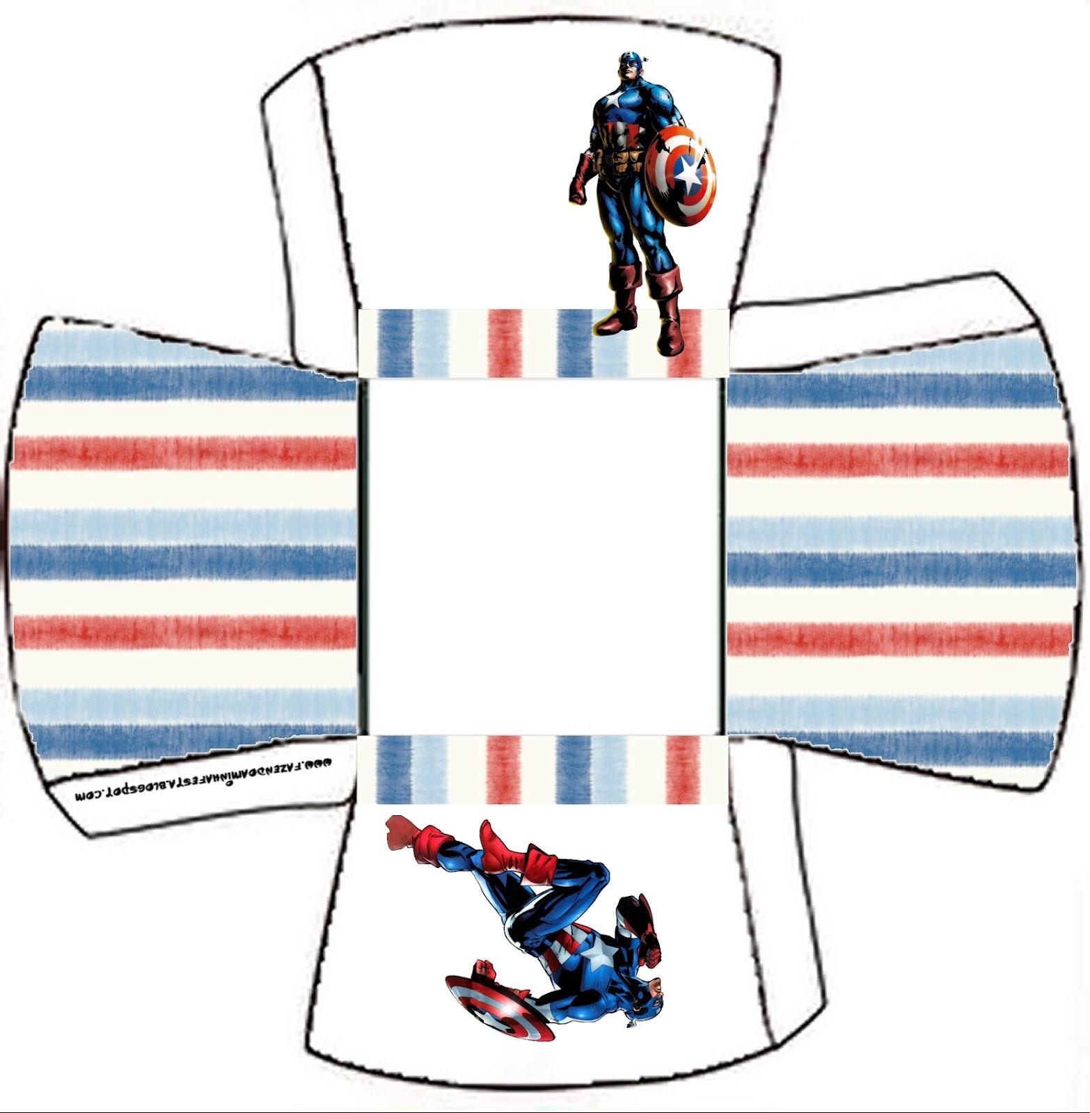 Centro De Mesa Capitán América: Cajitas Imprimibles Del Capitán América