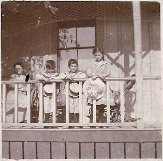 porch of Leon Bean home in Redwood City California