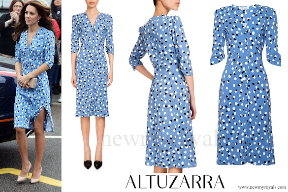Kate Middleton wore Altuzarra Aimee Polka-dot Button-front Dress
