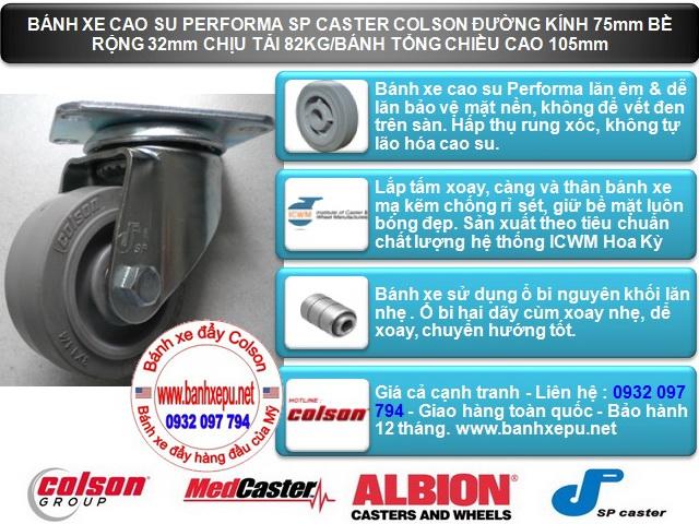 Bánh xe cao su đặc xoay phi 75 - 3 inch chịu lực 82kg | S2-3056-TPE www.banhxeday.xyz