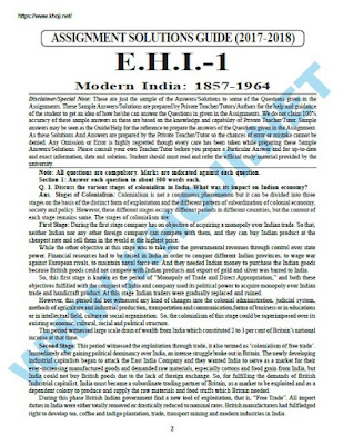 IGNOU BA Solved Assignment For EHI-1 English Medium 2017-18
