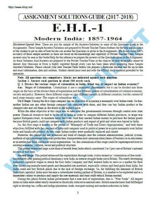 IGNOU BA Solved Assignment For EHI-1 English Medium 2017-18
