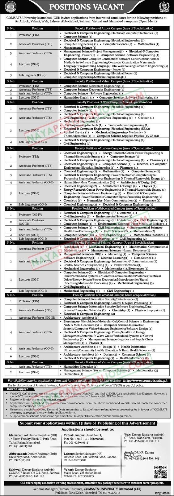 Latest Vacancies Announced in COMSATS University Islamabad Online Registration 14 October 2018 - Naya Pakistan