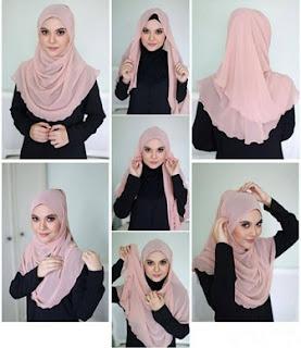 cara memakai hijab segi empat modis simpel