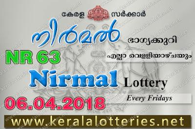 Kerala Lottery Results 06-04-2018 Nirmal NR-63 Lottery Result