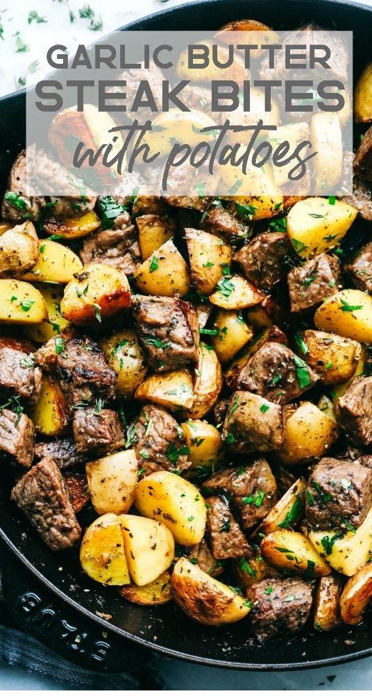 Garlic Butter Herb Steak Bites With Potatoes