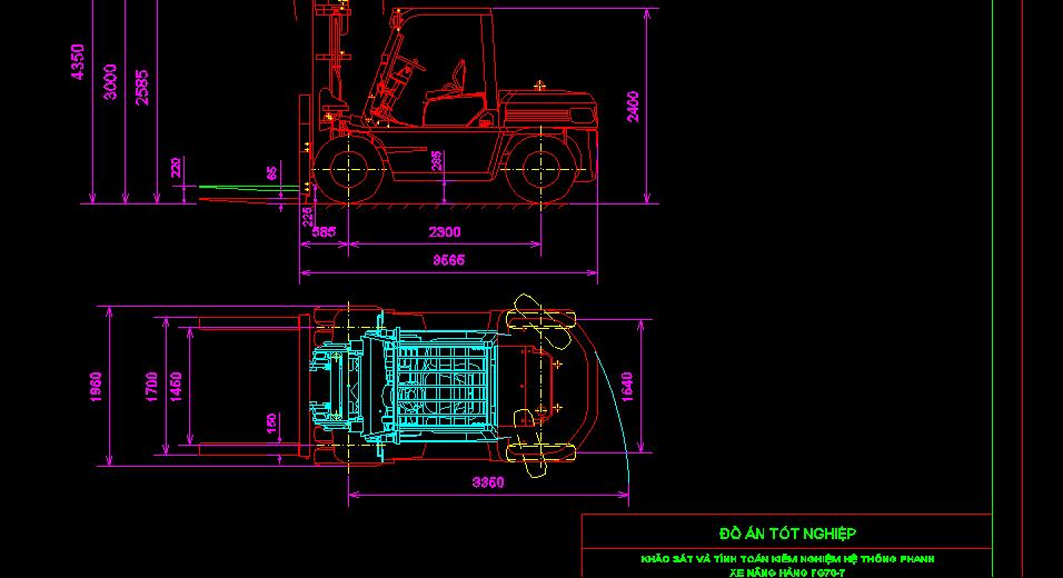 Bản vẽ xe nâng hàng FG70-7