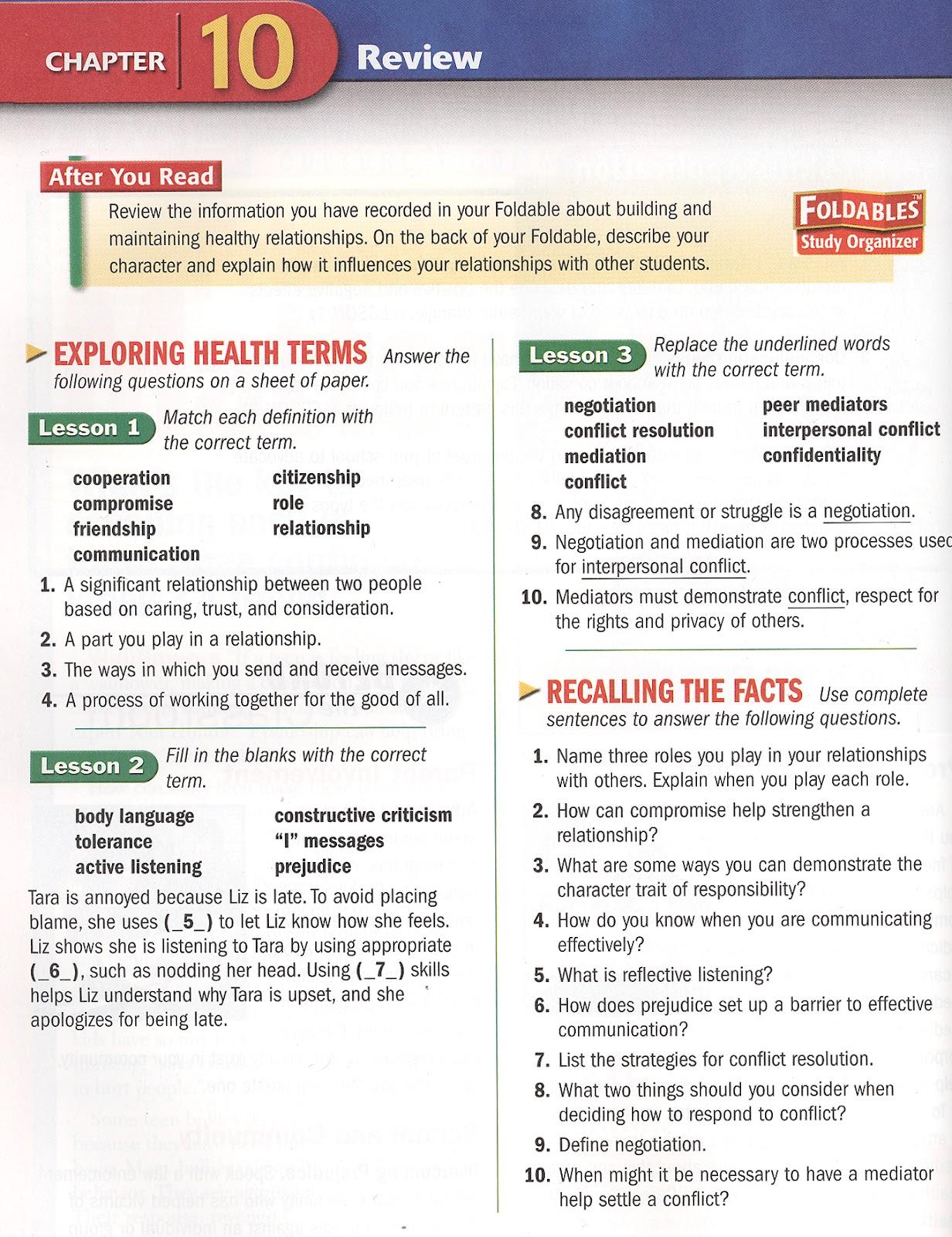 Answers To glencoe health chapter 3