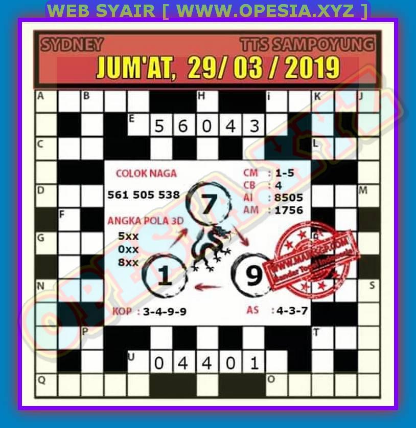 Kode Syair Sidney Jumat 29 Maret 2019 - GOsyair SEDIA KODE