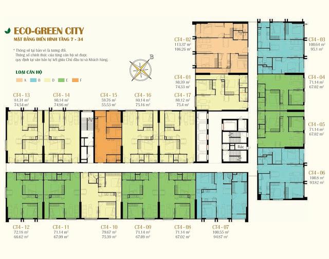 Mặt bằng căn hộ tòa CT4 Eco Green City