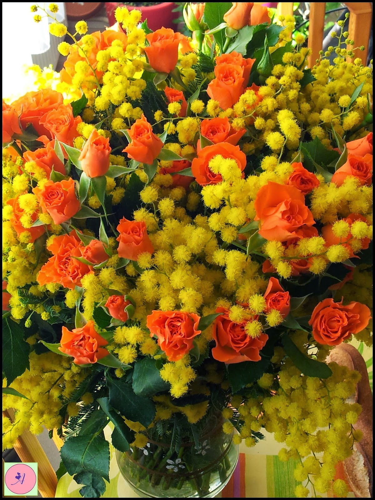 jaune orange mimosas rose bouquet yellow fleurs