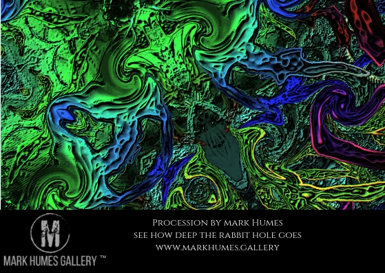 """Procession "" is digital abstract art created by Mark Humes using a color palette of green, blue, cyan, yellow, red and purple depicting a central slanting totem showing the evolution of evil ruling bloodline surrounded by a fluid environment that bares cryptic images of the court that lay in wait and act as a guard."
