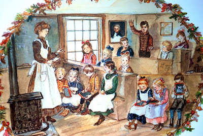 Tasha Tudor - One-room schoolhouse and children