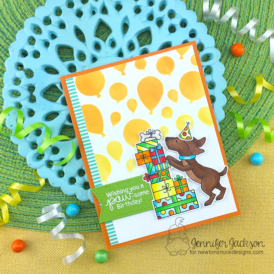Paw-some Birthday card by Jennifer Jackson | Paw-some Birthday Stamp Set and Balloons Stencil by Newton's Nook Designs #newtonsnook #handmade