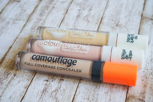 camouflage full coverage concealer in 05 ivory    colour correcting liquid concealer in 10 pastel pink colour correcting liquid concealer in 20 pastel yellow