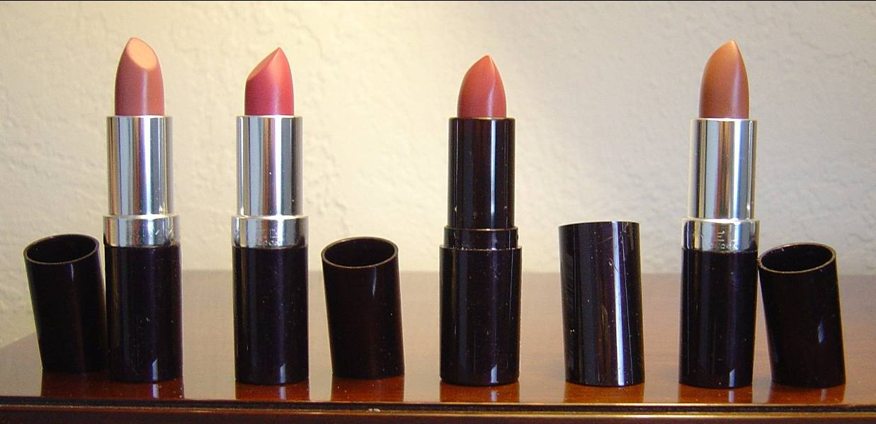 four Rimmel Lasting Finish Intense Wear Lipsticks.jpeg