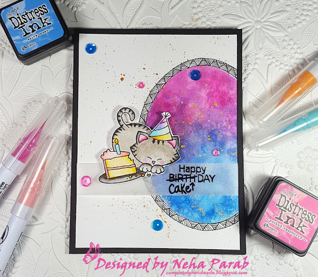Birthday Card with Cat and Cake by Neha Parab | Newton Loves Cake Stamp set by Newton's Nook Designs #newtonsnook