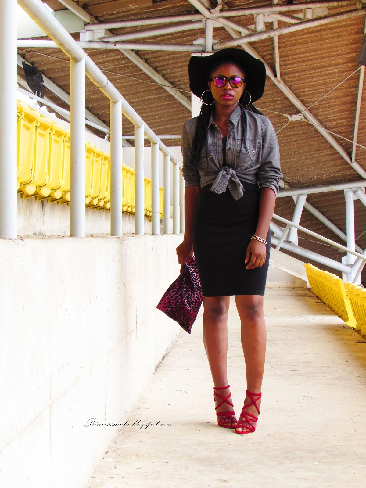 black pencil skirt, denim jacket, body-con