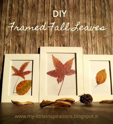 Quadretti con foglie secche d'autunno - titolo - My Little Inspirations