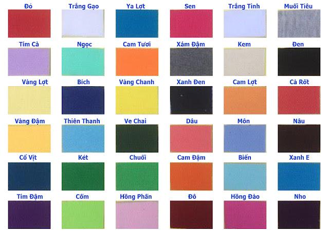 Bảng Màu Vải Thun Cotton