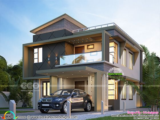 ₹60 lakhs cost estimated 4 BHK contemporary Kerala house